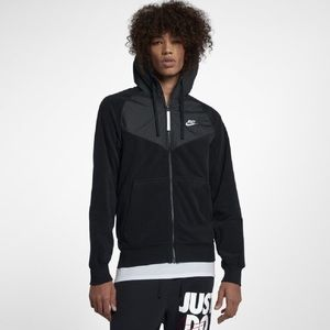 Nike Polar Fleece Zip Up Black Hoodie Size Small